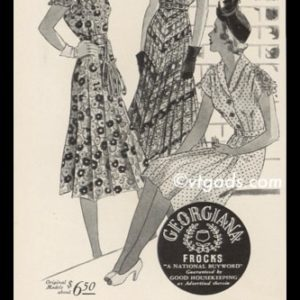 1938 Georgiana Frocks Vintage Ad | Giana Crepes