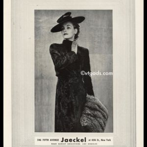 1938 Jaeckel Vintage Ad | Fur Coat & Muff