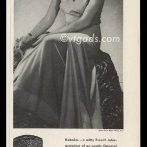 1938 Bourjois Kabako Perfume Ad | Mary Walls Gown