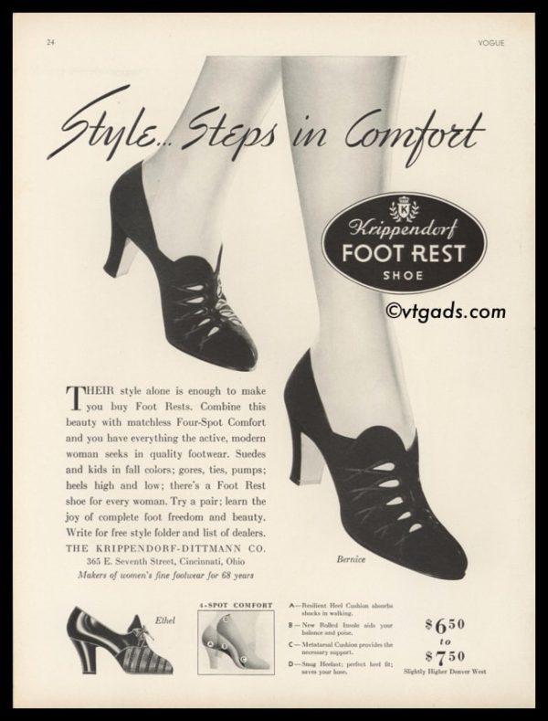1938 Vintage Ad Krippendorf-Dittman Co. | Foot Rest Shoe