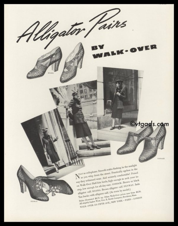 1938 Walk-Over Ladies Alligator Shoes Vintage Ad