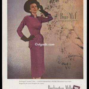 "1947 Burlington Mills Vintage Ad | Rayon ""Occasion"" Dress"