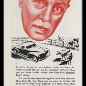 1947 Grey-Rock Brake Linings Vintage Ad