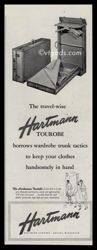 1947 Hartmann Co. Vintage Ad | Tourobe Suitcase