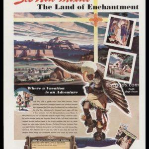 1947 New Mexico Tourist Bureau Vintage Ad | Pueblo Dancer