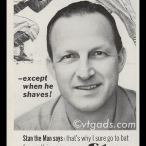 1964 Mennen Afta After Shave Lotion Vintage Ad | Stan Musial