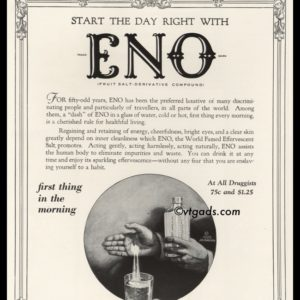 1925 Eno Vintage Ad | Fruit Salt-Derivative Compound