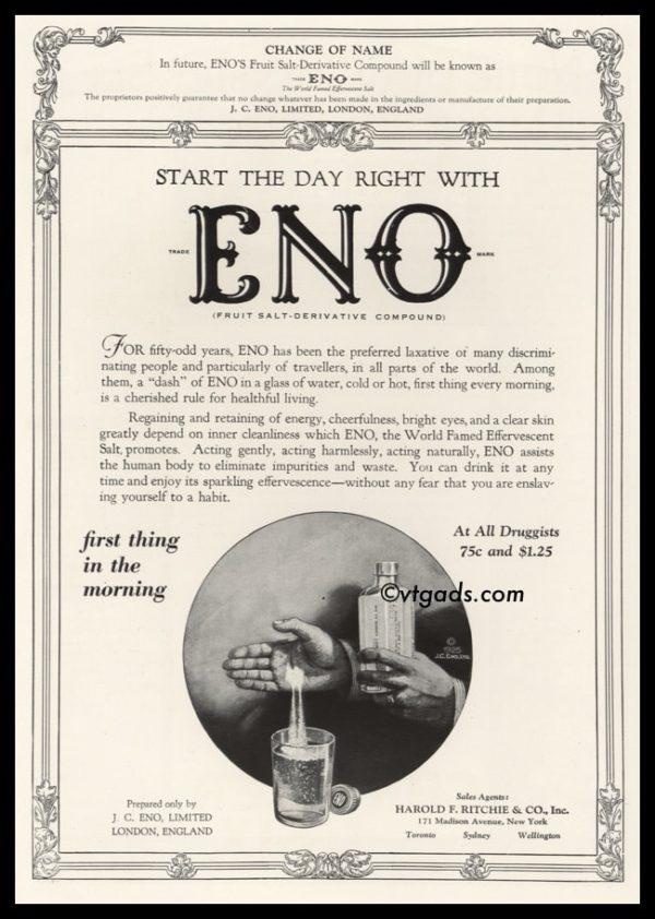 1925 Eno Vintage Ad   Fruit Salt-Derivative Compound