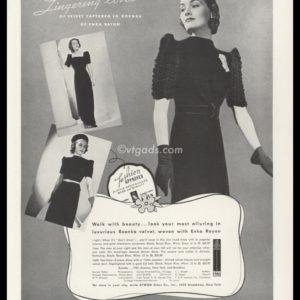 1938 American Enka Vintage Ad | Roenka Velvet Dress