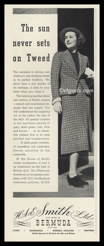 1938 HA & E Smith Ltd Vintage Ad | Ladies Tweed Suit