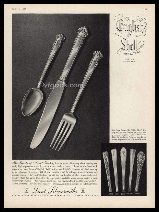 1938 Lunt Silversmiths Vintage Ad | English Shell Pattern