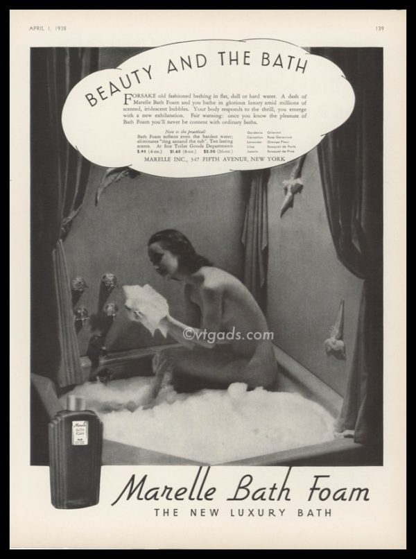 "1938 Marelle Bath Foam Vintage Ad | ""Beauty and the Bath"""