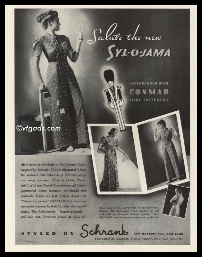 1938 Vintage Ad Schrank Syl O Jama Pajamas Vtg Ads Com