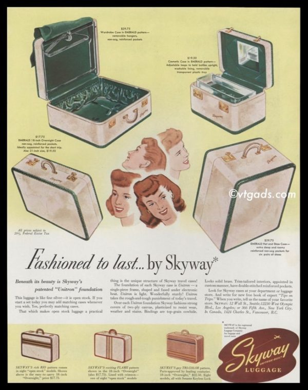 1947 Skyway Luggage Vintage Ad | Emerald Pattern