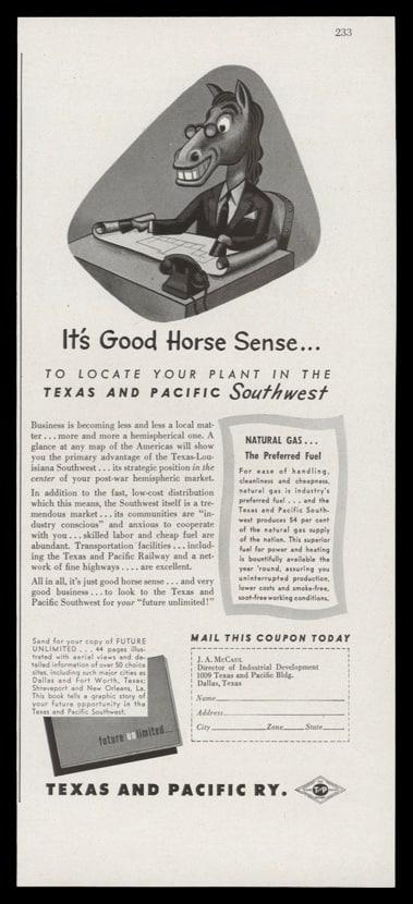 1947 Texas & Pacific Railway Vintage Ad | Horse Sense